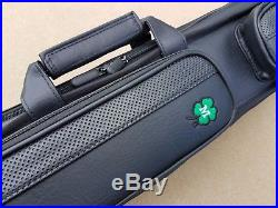 New McDermott Pool Cue Case, Soft 2x4, Butterfly Case, Black With Green Clover