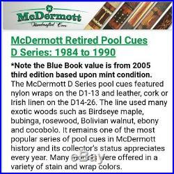 Retired McDermott pool cue model D-10